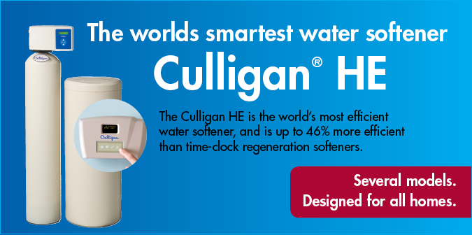 The Culligan HE is the worlds most efficient water softener and is up to 46% more efficient than time clock regeneration softeners. Several models. Designed for all homes.